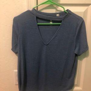 pacsun vneck cutout blue t-shirt